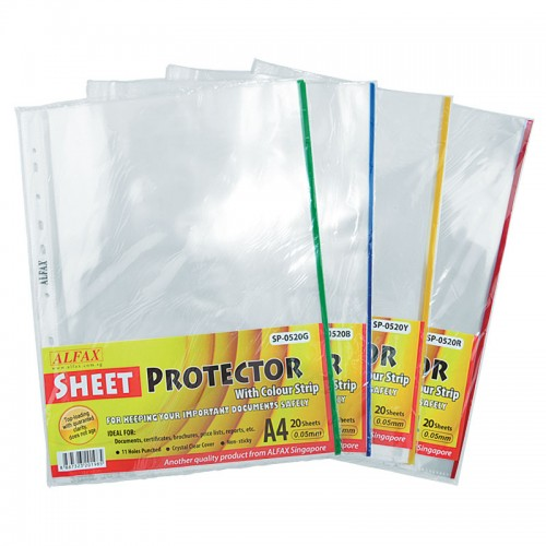 ALFAX SP0520B Sheet Protector 11 Hole Refill Colored Edge 20pcs
