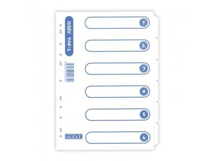 ALFAX 904-6W Paper Divider 6 White A4